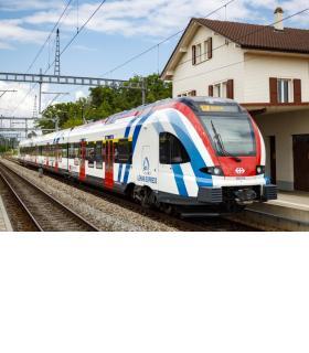 Une des 23 rames Flirt du constructeur suisse Stadler. Celles françaises d'Alstom, au nombre de 17, sont rouges et grises. DR