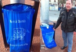 Poubelles bleues en ville - Merci le père Denis!