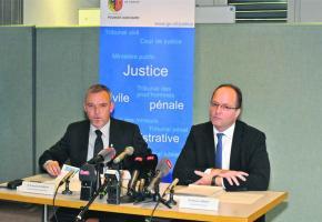 François Schmutz, chef de la police judiciaire et Olivier Jornod, procureur général.