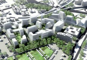 La maquette du projet montre que les espaces à proximité des citernes et de l'aéroport sont complètement remodelés. DR