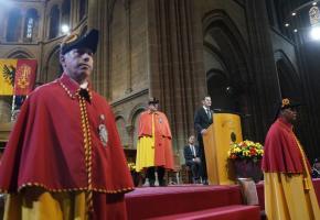 Pierre Maudet prononce son discours dans la cathédrale Saint-Pierre. CHRISTIAN BONZON