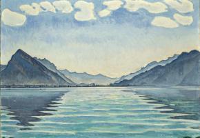 «Le lac de Thoune aux reflets symétriques», une huile sur toile de Ferdinand Hodler. DR