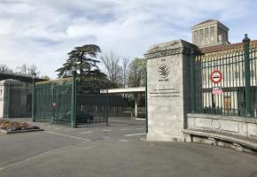 L'entrée du siège de l'OMC. L'organisation est un élément central de la Genève internationale. DR