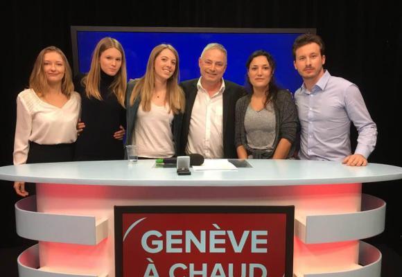 Aude, Diane, Virna, Elena et Nicolas, cinq jeunes candidats, de cinq partis différents,  réunis dimanche 4 février sur Léman Bleu. DR