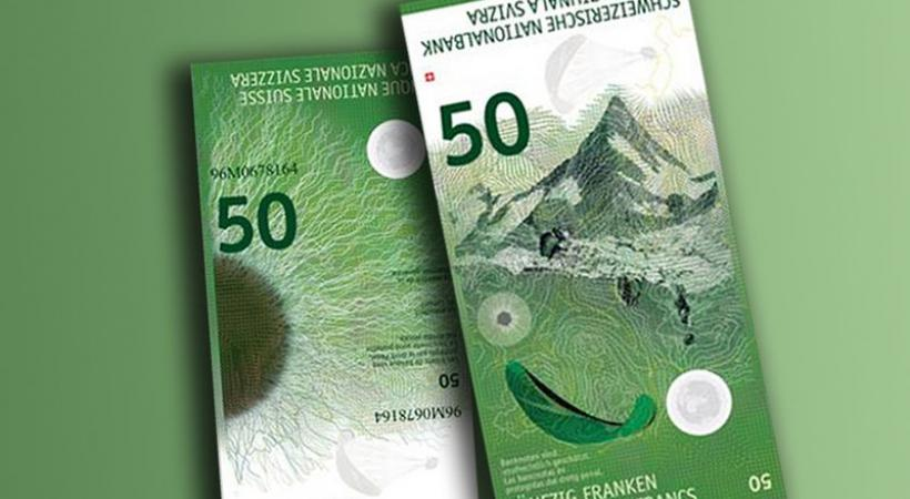 Nouveau billet de 50 francs suisse.