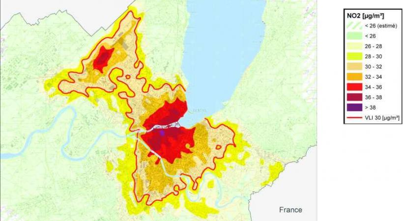 Carte des immissions de dioxyde d'azote (NO2) pour 2011 sur le territoire genevois.
