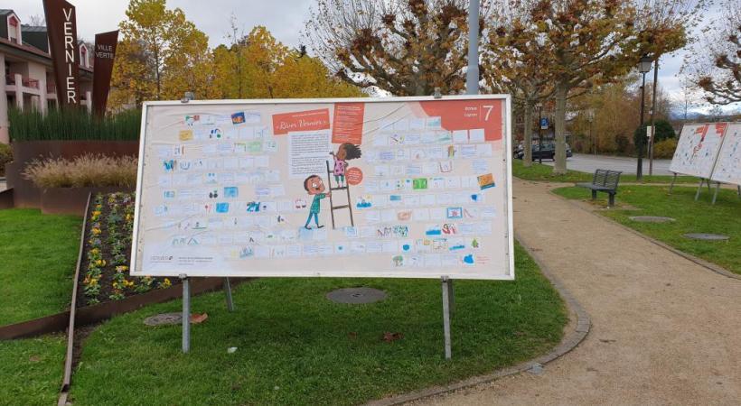 Les cartes réalisées par les petits Verniolans sont exposées jusqu'au 30 avril 2021 dans les quartiers de Vernier. DR