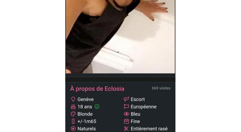 L'annonce visible sur le site d'escort girls fgirl.ch. DR