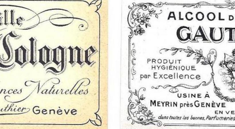 Anciennes étiquettes de la parfumerie Gauthier. DR Entête du papier à lettres de la parfumerie Gauthier. DR
