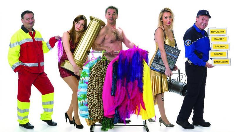 Les cinq comédiens de la «Revue et non corrigée» offrent près de deux heures de rires et de chansons parodiques façon «cabaret».DR
