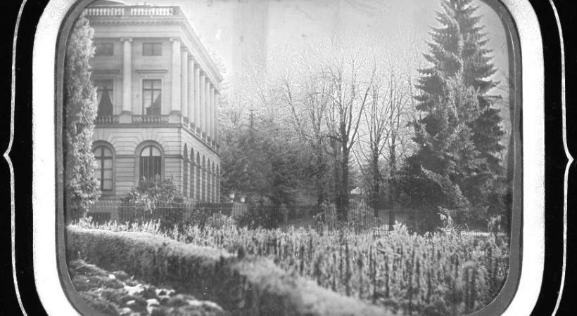 Une vigne au pied du Palais Eynard, en 1870. En médaillon, Sami Kanaan.