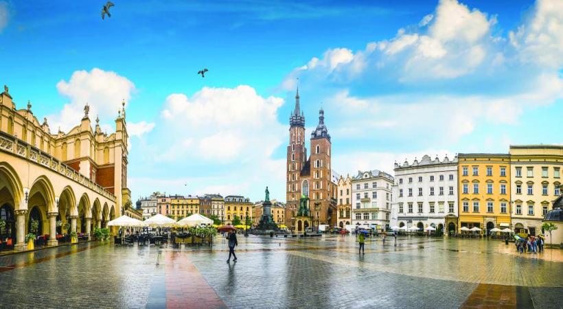 La place du Marché, centre névralgique de Cracovie.