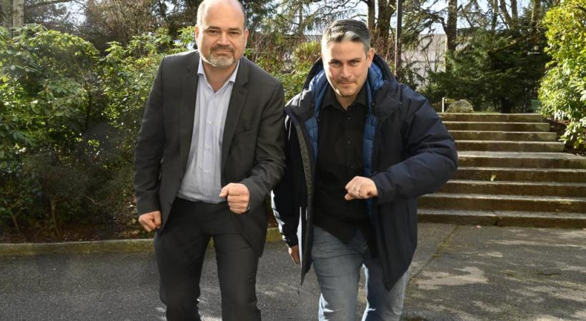 Le maire de la Ville de Genève Sami Kanaan et Jerry Maspoli, le président de la Course de l'Escalade, prêts à franchir tous les écueils pour trouver des solutions. CHRISTIAN BONZON