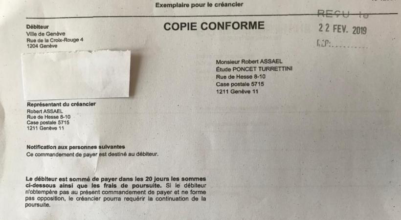 Le commandement de payer adressé à la Ville de Genève. DR