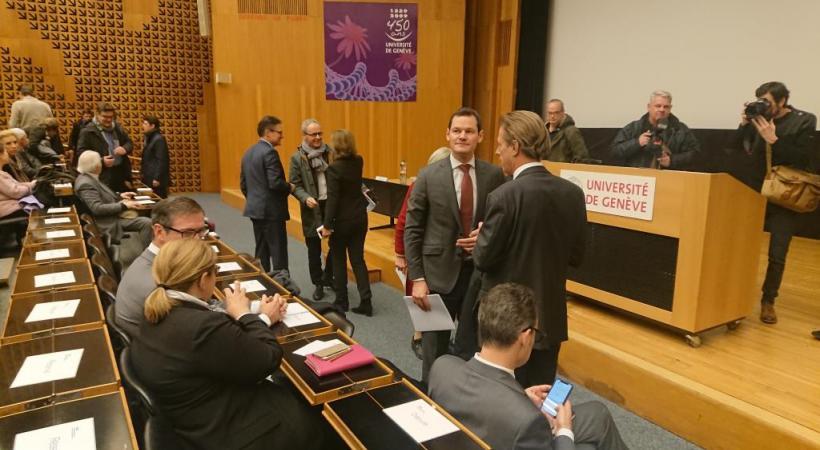 Pierre Maudet lors de l'assemblée générale extraordinaire du PLR le 15 janvier 2019. MARIE PRIEUR